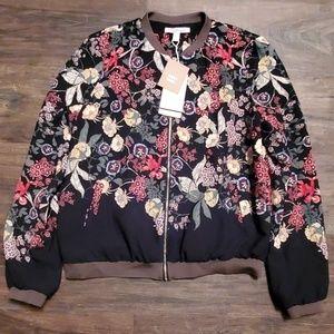 Zara Trafaluc Floral Bomber Jacket Large